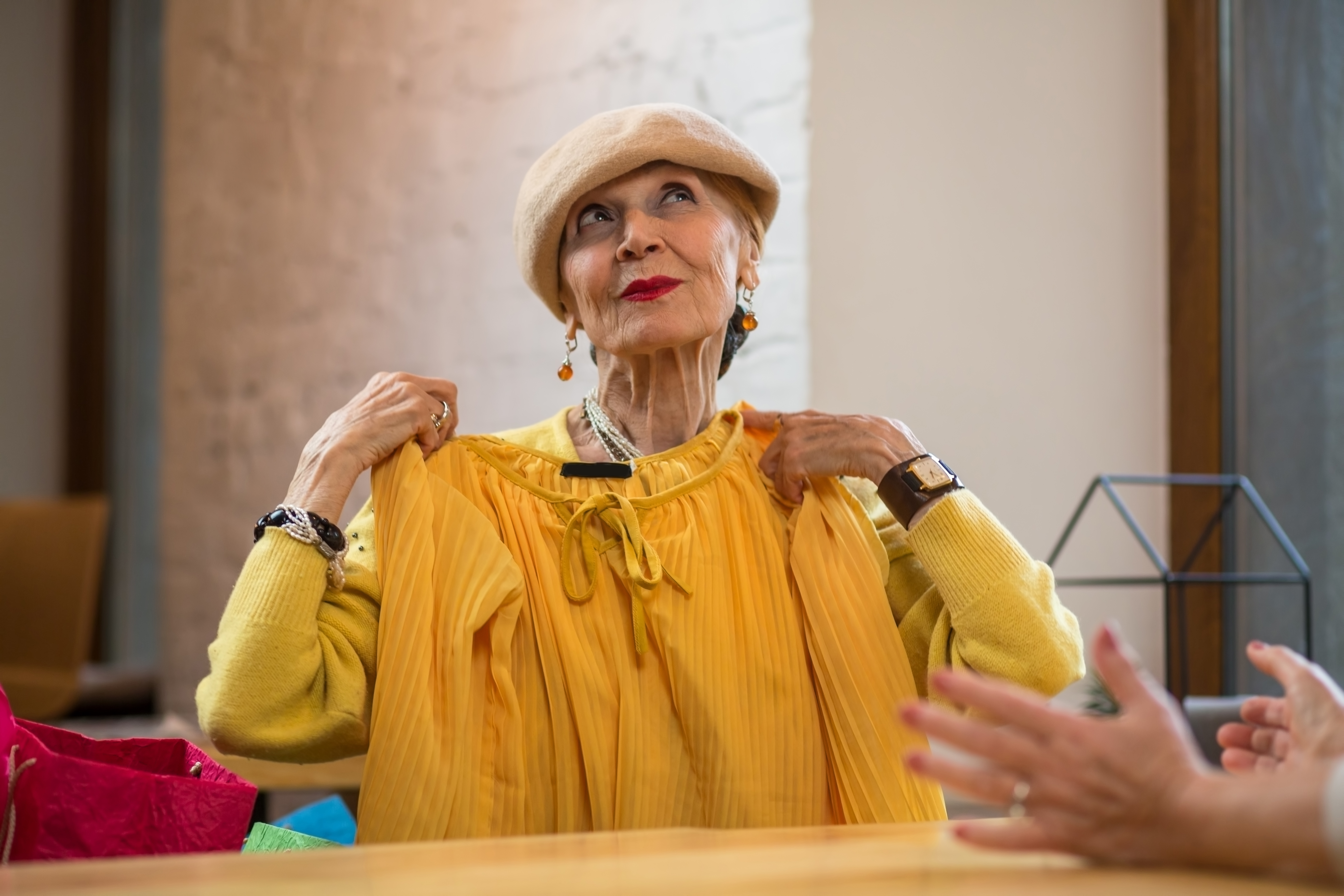 older woman shopping for clothes