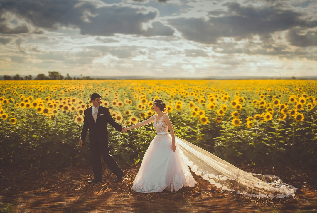 wedding in field