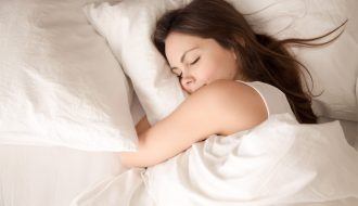woman getting healthy sleep